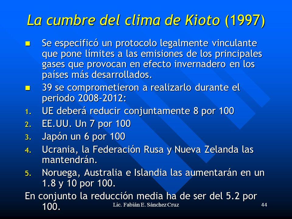 Lic. Fabián E. Sánchez Cruz44 La cumbre del clima de Kioto (1997) Se especificó un protocolo legalmente vinculante que pone límites a las emisiones de