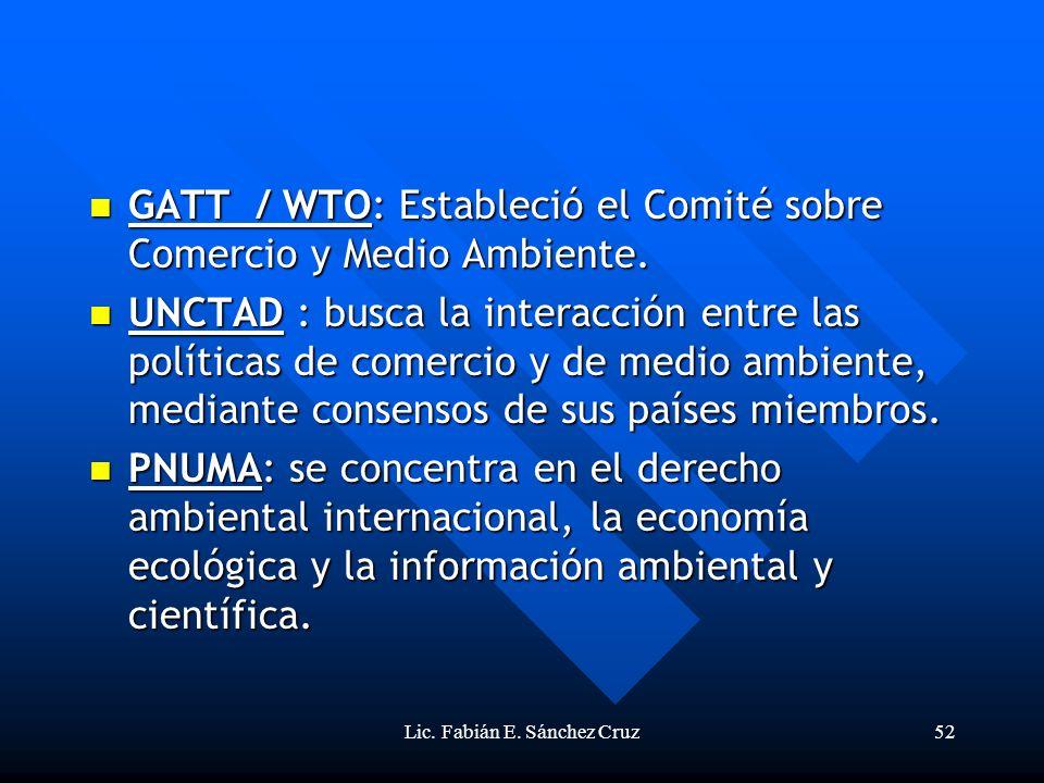 Lic. Fabián E. Sánchez Cruz52 GATT / WTO: Estableció el Comité sobre Comercio y Medio Ambiente. GATT / WTO: Estableció el Comité sobre Comercio y Medi
