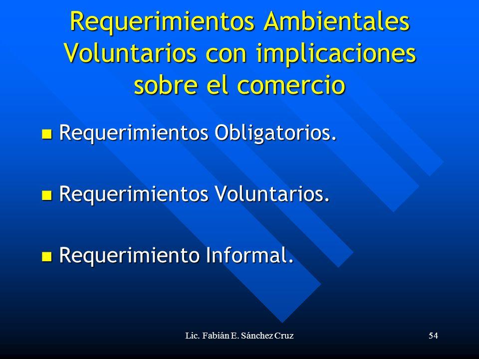 Lic. Fabián E. Sánchez Cruz54 Requerimientos Ambientales Voluntarios con implicaciones sobre el comercio Requerimientos Obligatorios. Requerimientos O
