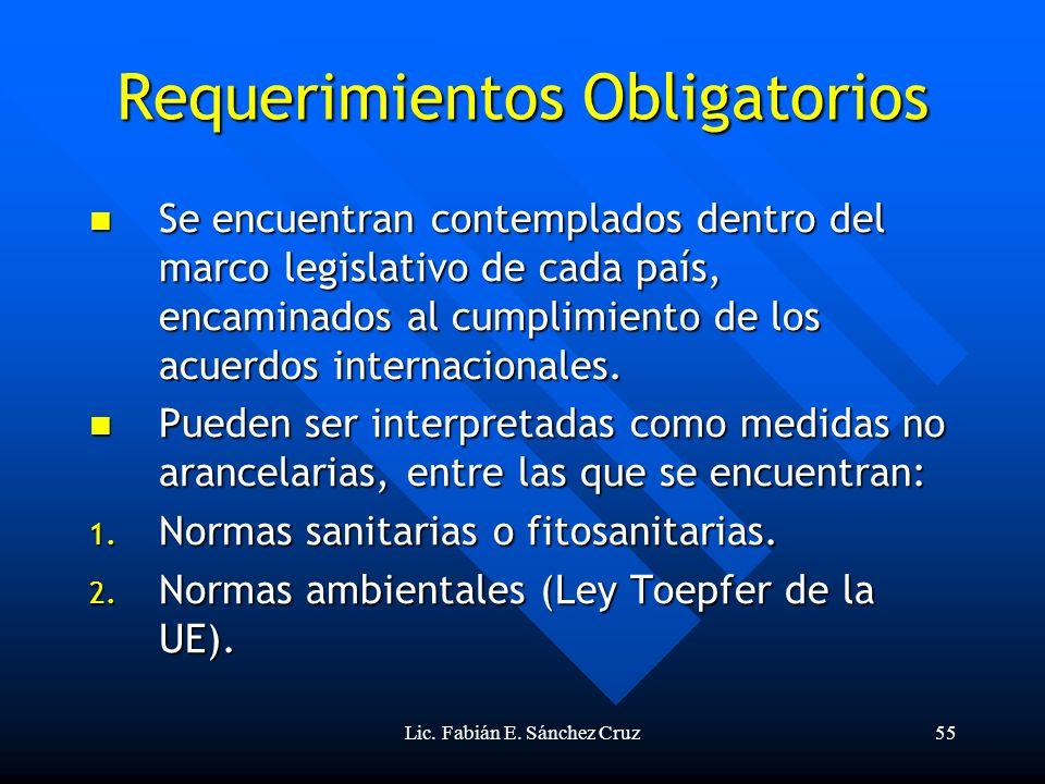 Lic. Fabián E. Sánchez Cruz55 Requerimientos Obligatorios Se encuentran contemplados dentro del marco legislativo de cada país, encaminados al cumplim