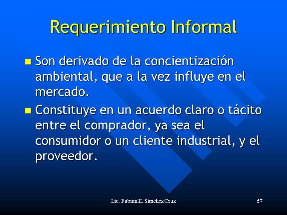Lic. Fabián E. Sánchez Cruz57 Requerimiento Informal Son derivado de la concientización ambiental, que a la vez influye en el mercado. Son derivado de