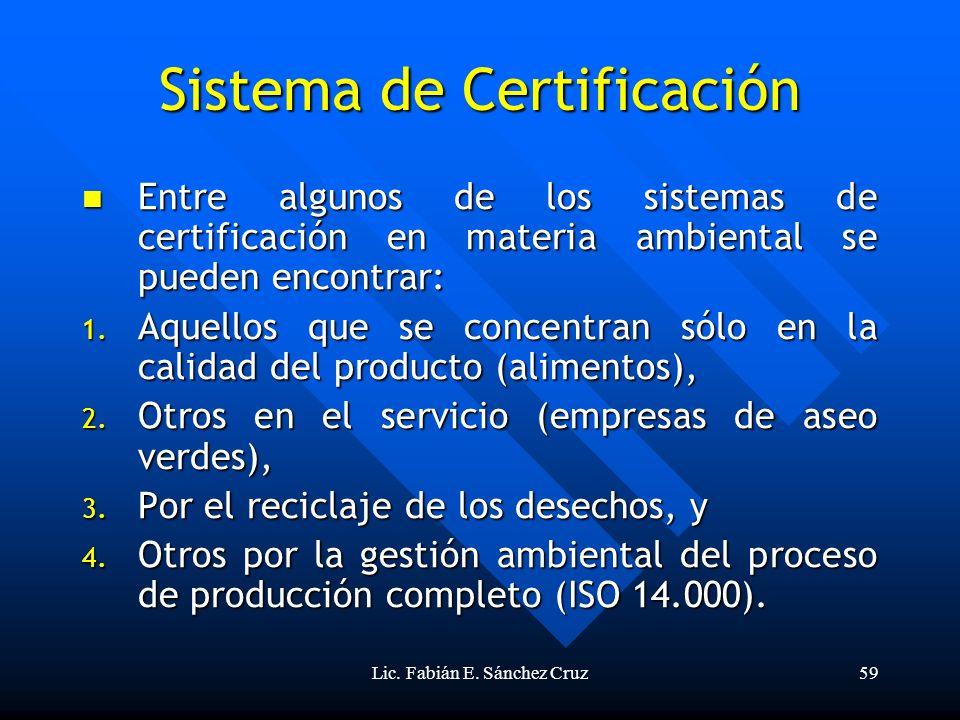Lic. Fabián E. Sánchez Cruz59 Sistema de Certificación Entre algunos de los sistemas de certificación en materia ambiental se pueden encontrar: Entre