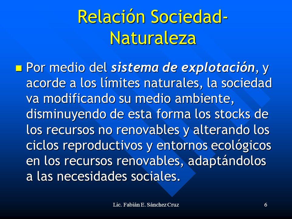 Lic. Fabián E. Sánchez Cruz6 Por medio del sistema de explotación, y acorde a los límites naturales, la sociedad va modificando su medio ambiente, dis