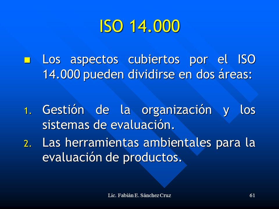 Lic. Fabián E. Sánchez Cruz61 ISO 14.000 Los aspectos cubiertos por el ISO 14.000 pueden dividirse en dos áreas: Los aspectos cubiertos por el ISO 14.