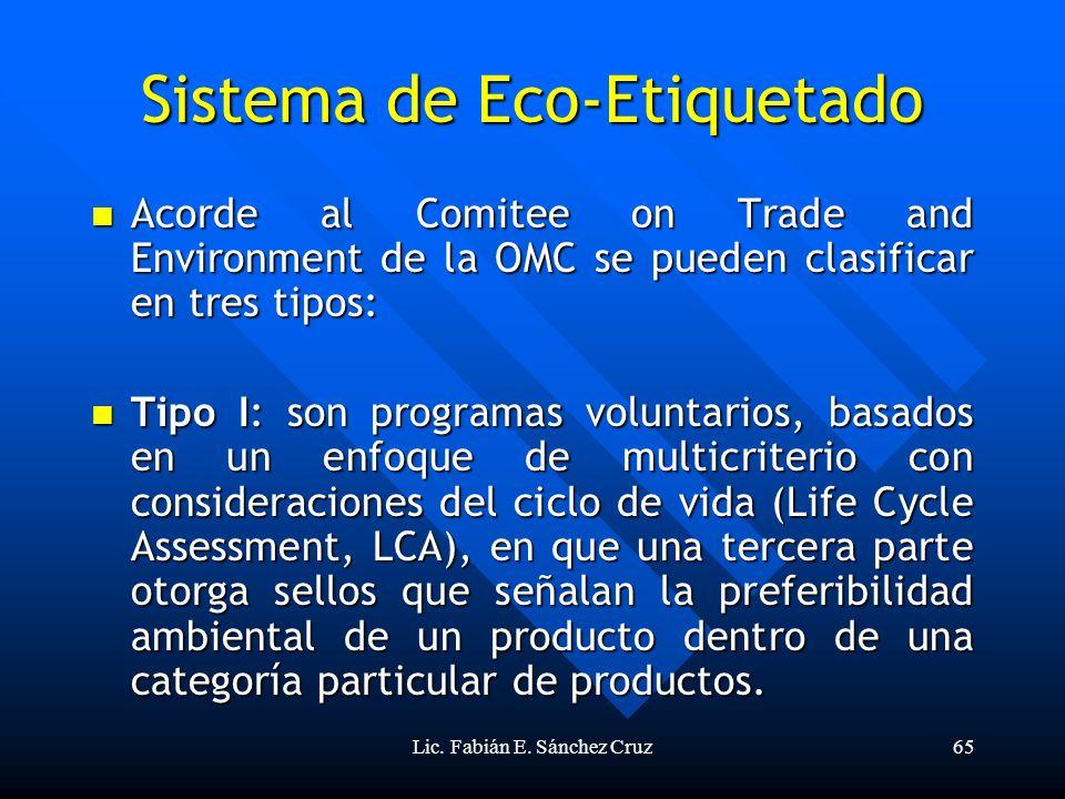 Lic. Fabián E. Sánchez Cruz65 Sistema de Eco-Etiquetado Acorde al Comitee on Trade and Environment de la OMC se pueden clasificar en tres tipos: Acord