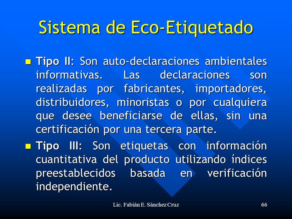 Lic. Fabián E. Sánchez Cruz66 Sistema de Eco-Etiquetado Tipo II: Son auto-declaraciones ambientales informativas. Las declaraciones son realizadas por