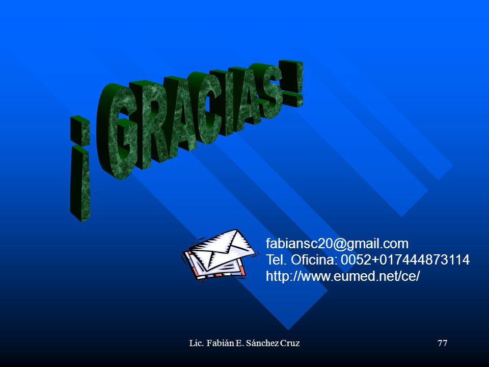 Lic. Fabián E. Sánchez Cruz77 fabiansc20@gmail.com Tel. Oficina: 0052+017444873114 http://www.eumed.net/ce/