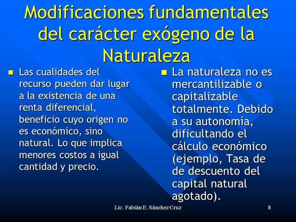 Lic. Fabián E. Sánchez Cruz8 Modificaciones fundamentales del carácter exógeno de la Naturaleza Las cualidades del recurso pueden dar lugar a la exist