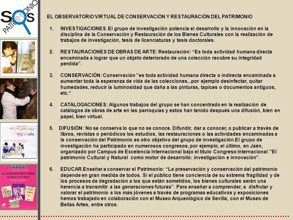 , EL OBSERVATORIO VIRTUAL DE CONSERVACIÓN Y RESTAURACIÓN DEL PATRIMONIO.