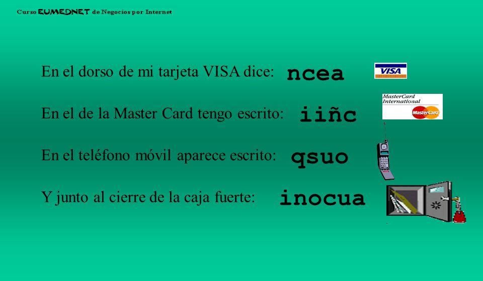 ncea iiñc qsuo inocua En el dorso de mi tarjeta VISA dice: En el de la Master Card tengo escrito: Y junto al cierre de la caja fuerte: En el teléfono móvil aparece escrito: