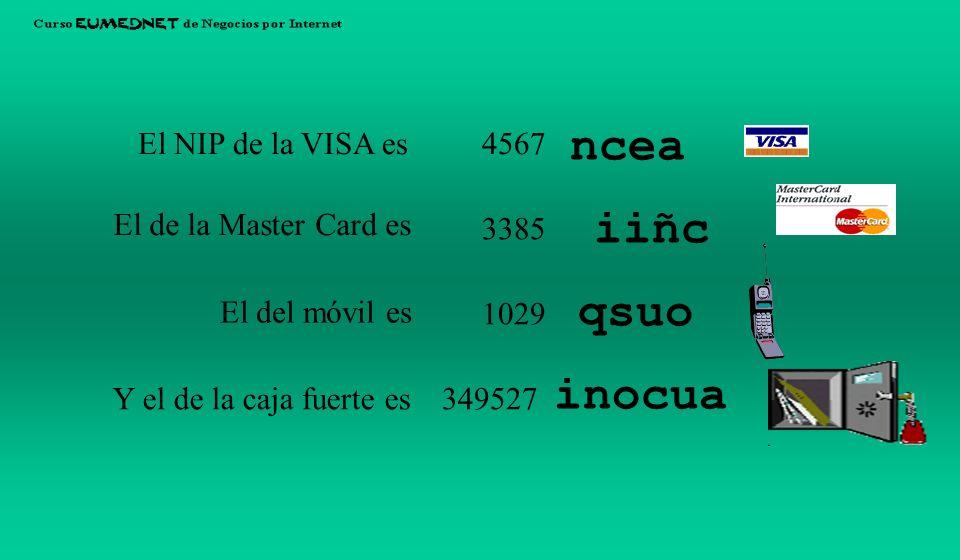 El NIP de la VISA es El de la Master Card es El del móvil es Y el de la caja fuerte es 4567 3385 1029 349527 ncea iiñc qsuo inocua