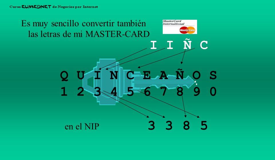 Q U I N C E A Ñ O S 1 2 3 4 5 6 7 8 9 0 Es muy sencillo convertir NCEA las letras de mi VISA en el NIP 4567 NCEA NCEA 4567 4567