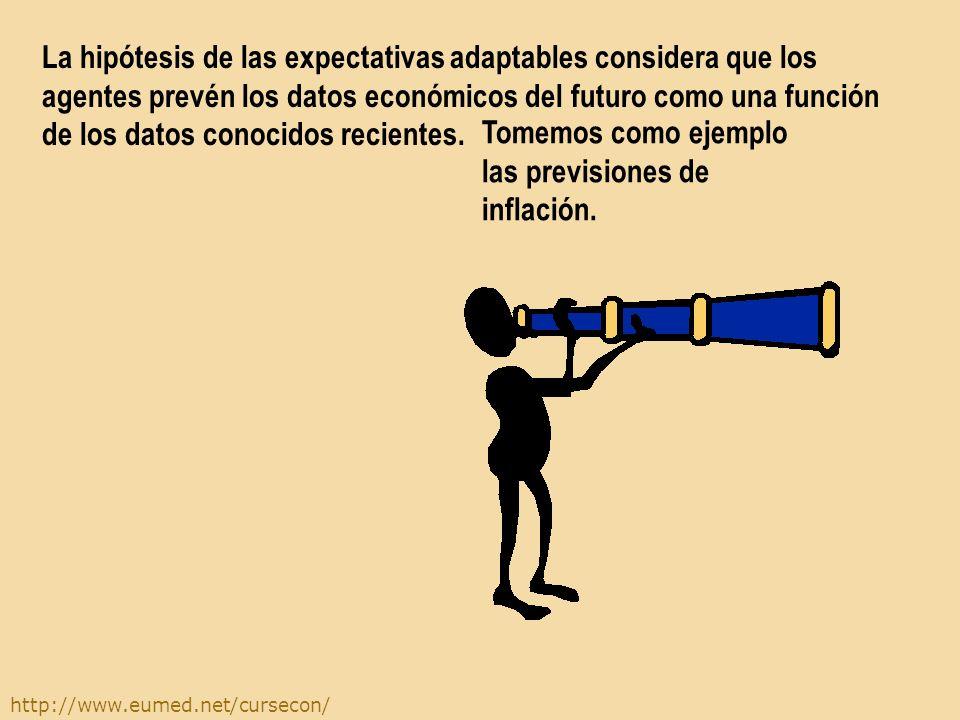 La hipótesis de las expectativas adaptables considera que los agentes prevén los datos económicos del futuro como una función de los datos conocidos recientes.