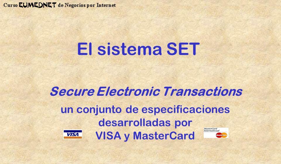 El sistema SET Secure Electronic Transactions un conjunto de especificaciones desarrolladas por VISA y MasterCard