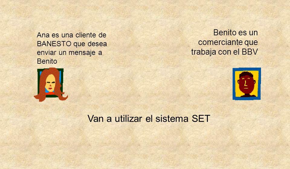 Ana es una cliente de BANESTO que desea enviar un mensaje a Benito Benito es un comerciante que trabaja con el BBV Van a utilizar el sistema SET
