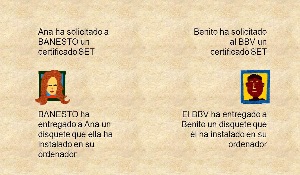 Ana ha solicitado a BANESTO un certificado SET BANESTO ha entregado a Ana un disquete que ella ha instalado en su ordenador Benito ha solicitado al BBV un certificado SET El BBV ha entregado a Benito un disquete que él ha instalado en su ordenador