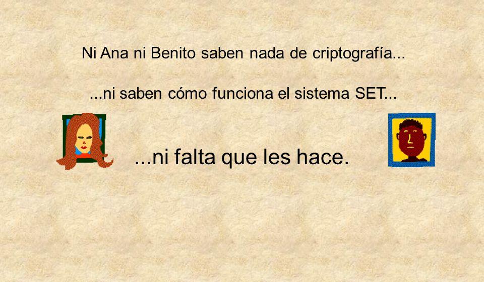 Ni Ana ni Benito saben nada de criptografía......ni saben cómo funciona el sistema SET......ni falta que les hace.