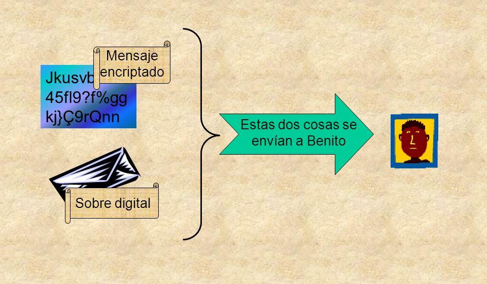Jkusvbd18s 45fl9 f%gg kj}Ç9rQnn Sobre digital Mensaje encriptado Estas dos cosas se envían a Benito