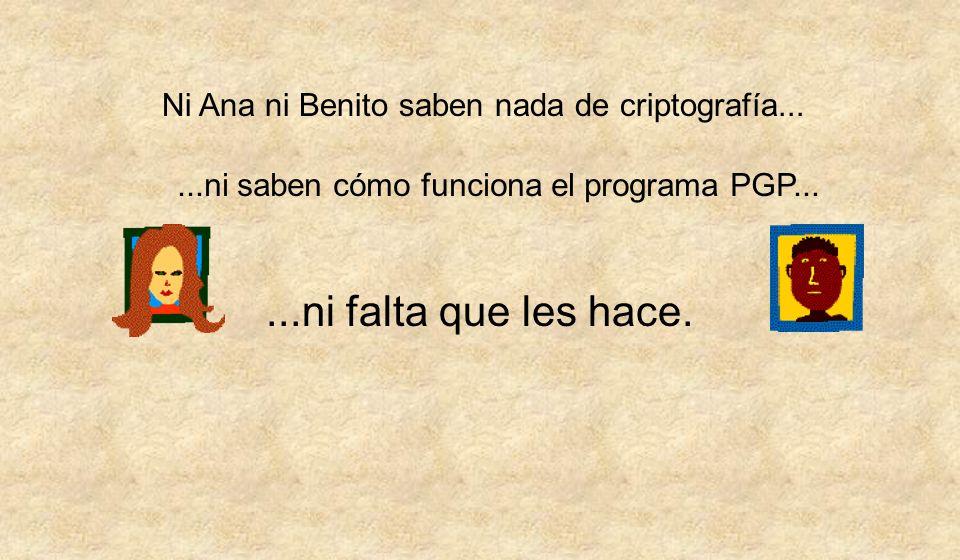 Ana escribe el mensaje a Benito con su programa de correo habitual No tiene que hacer nada más.