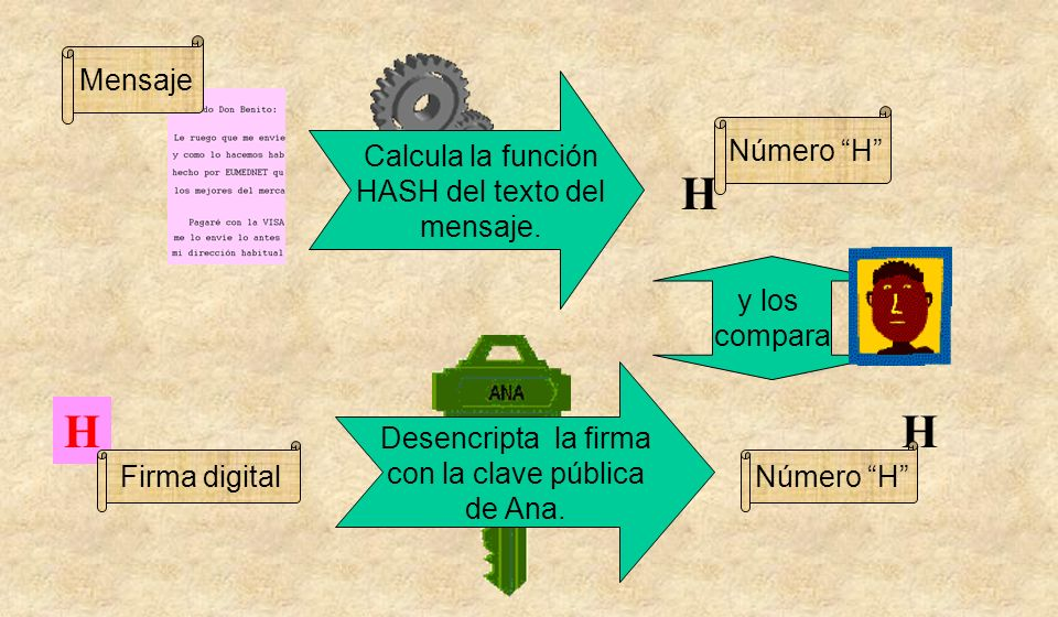 y los compara H Número H Mensaje Calcula la función HASH del texto del mensaje. HH Firma digital Desencripta la firma con la clave pública de Ana. Núm