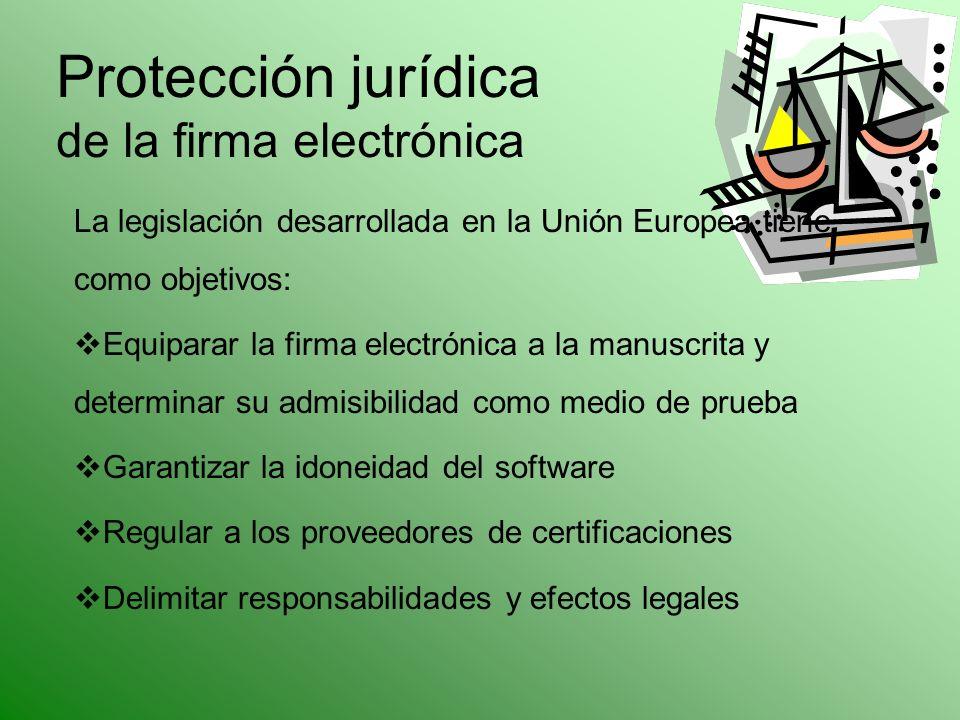 Protección jurídica de la firma electrónica La legislación desarrollada en la Unión Europea tiene como objetivos: Equiparar la firma electrónica a la