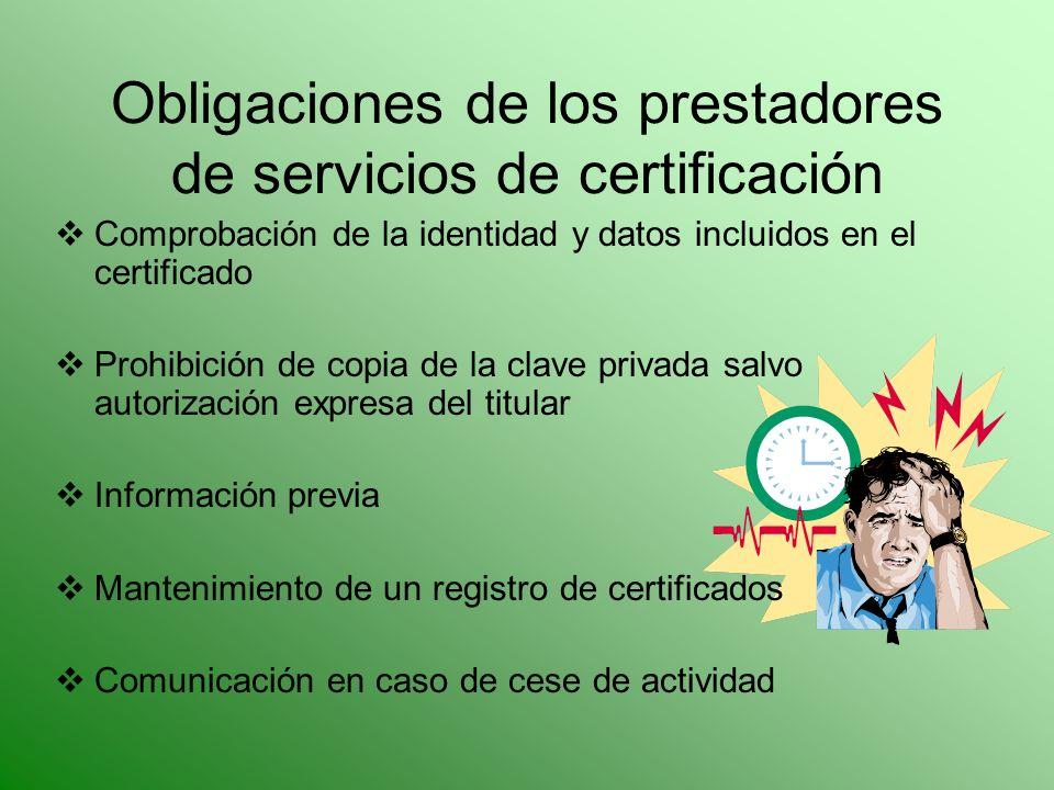 Obligaciones de los prestadores de servicios de certificación Comprobación de la identidad y datos incluidos en el certificado Prohibición de copia de