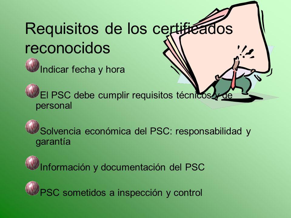 Indicar fecha y hora El PSC debe cumplir requisitos técnicos y de personal Solvencia económica del PSC: responsabilidad y garantía Información y docum