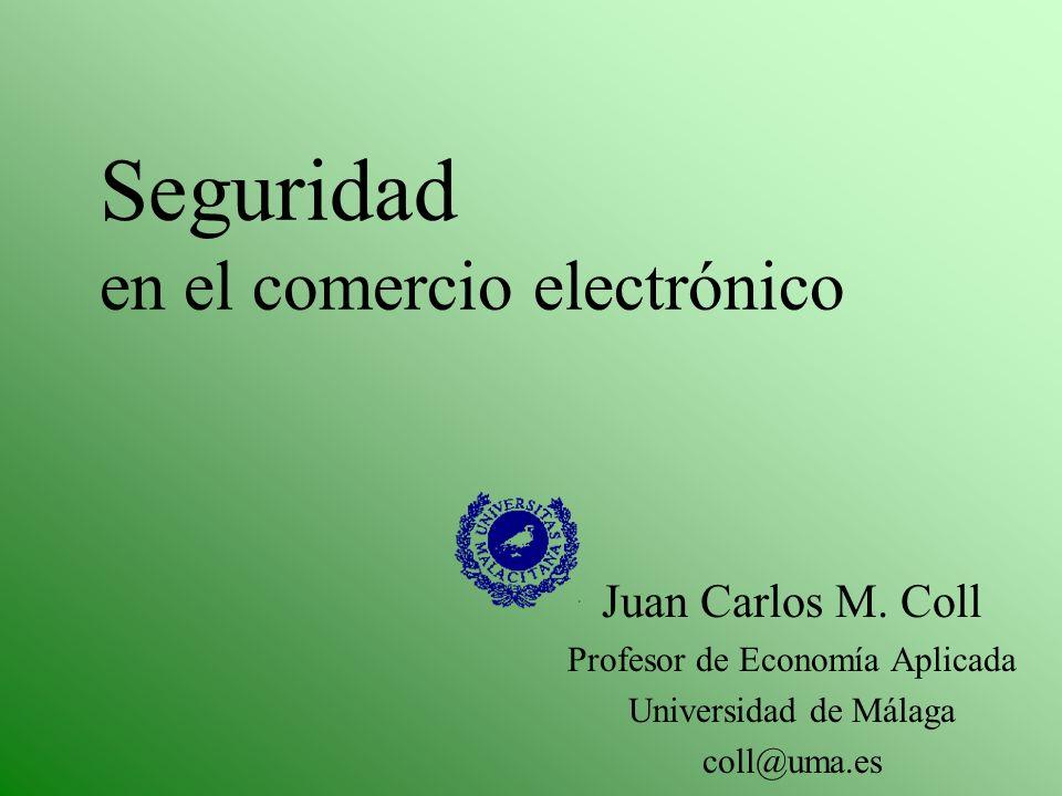 Seguridad en el comercio electrónico Juan Carlos M. Coll Profesor de Economía Aplicada Universidad de Málaga coll@uma.es