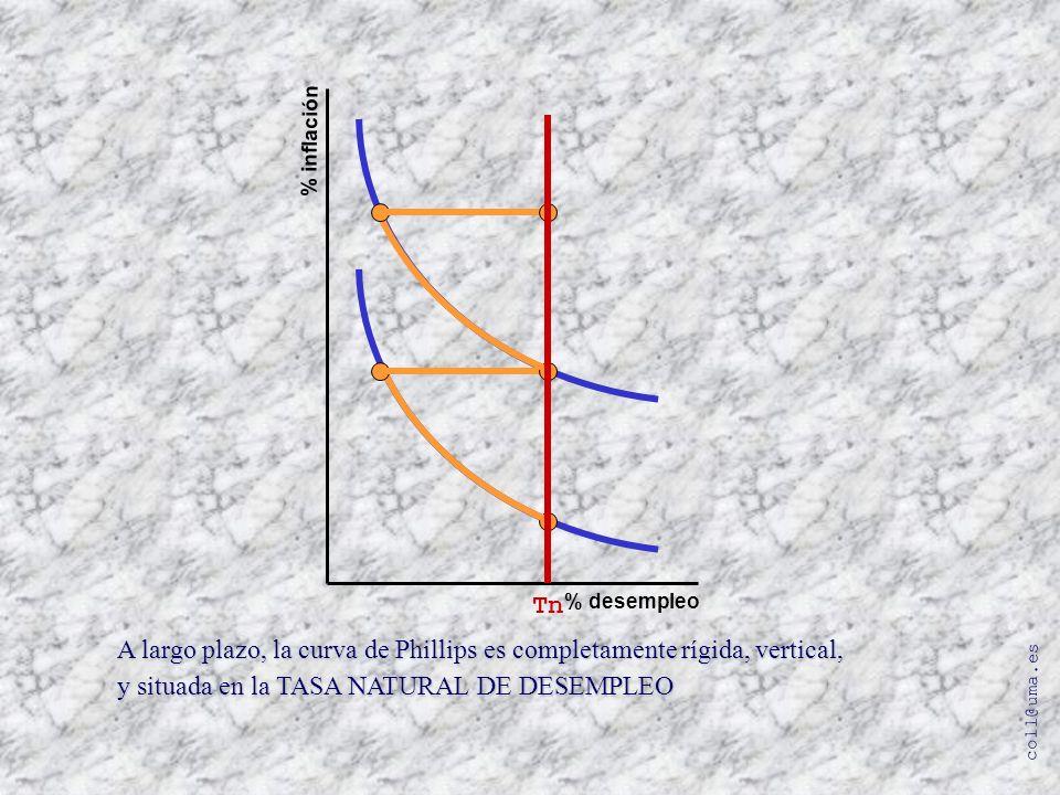 coll@uma.es % inflación % desempleo A largo plazo, la curva de Phillips es completamente rígida, vertical, y situada en la TASA NATURAL DE DESEMPLEO T