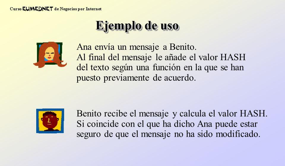 Ana envía un mensaje a Benito. Al final del mensaje le añade el valor HASH del texto según una función en la que se han puesto previamente de acuerdo.