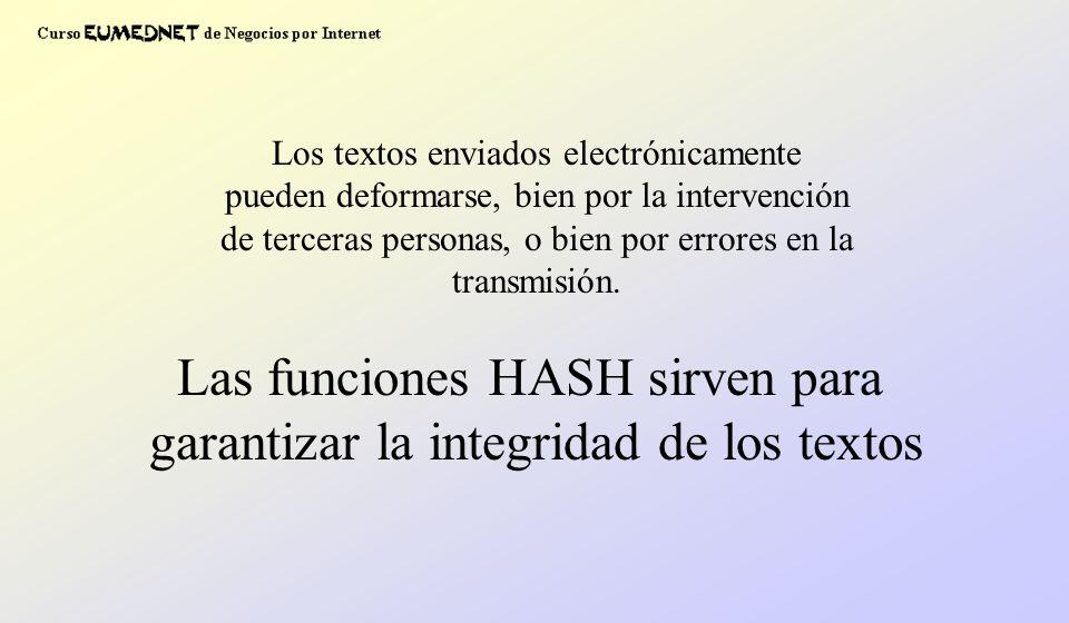 Los textos enviados electrónicamente pueden deformarse, bien por la intervención de terceras personas, o bien por errores en la transmisión. Las funci