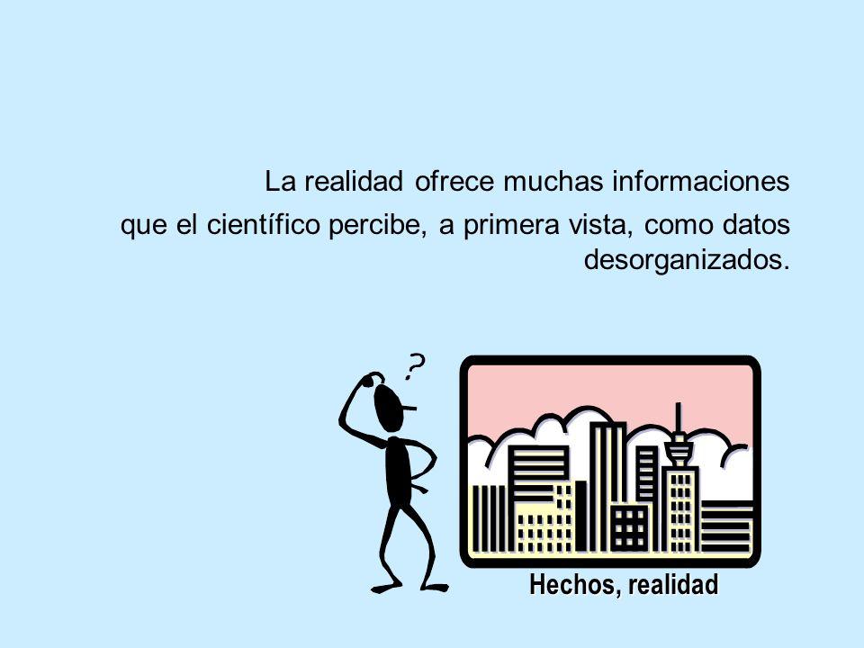 Hechos, realidad La realidad ofrece muchas informaciones que el científico percibe, a primera vista, como datos desorganizados.