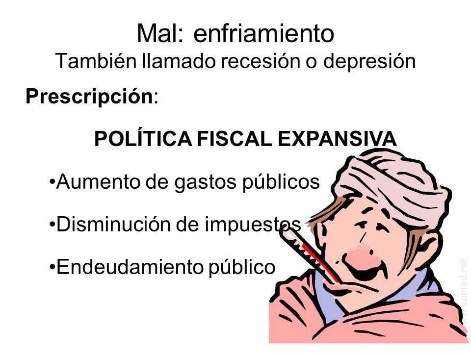 www.eumed.net Mal: enfriamiento También llamado recesión o depresión Prescripción: POLÍTICA FISCAL EXPANSIVA Aumento de gastos públicos Disminución de impuestos Endeudamiento público