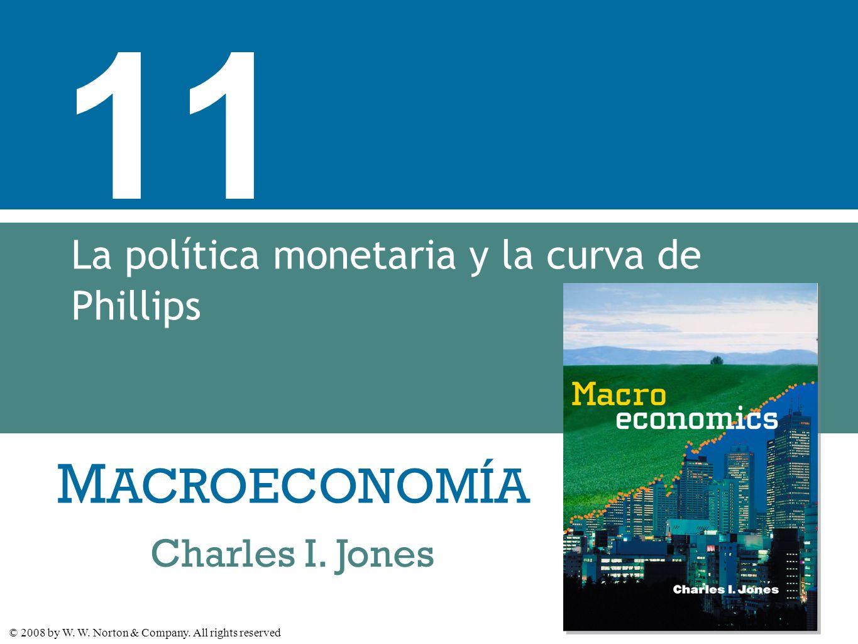 M ACROECONOMÍA © 2008 by W. W. Norton & Company. All rights reserved Charles I. Jones 11 La política monetaria y la curva de Phillips