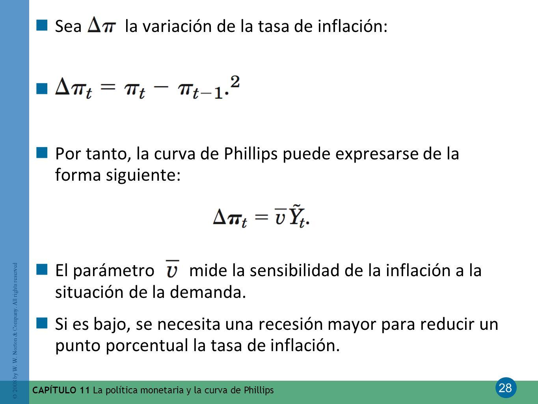 28 © 2008 by W. W. Norton & Company. All rights reserved CAPÍTULO 11 La política monetaria y la curva de Phillips Sea la variación de la tasa de infla