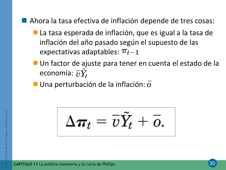 30 © 2008 by W. W. Norton & Company. All rights reserved CAPÍTULO 11 La política monetaria y la curva de Phillips Ahora la tasa efectiva de inflación