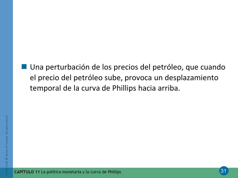 31 © 2008 by W. W. Norton & Company. All rights reserved CAPÍTULO 11 La política monetaria y la curva de Phillips Una perturbación de los precios del