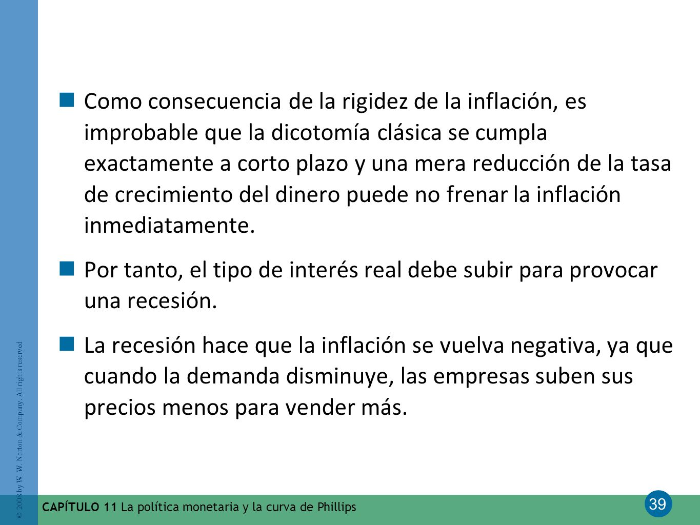 39 © 2008 by W. W. Norton & Company. All rights reserved CAPÍTULO 11 La política monetaria y la curva de Phillips Como consecuencia de la rigidez de l