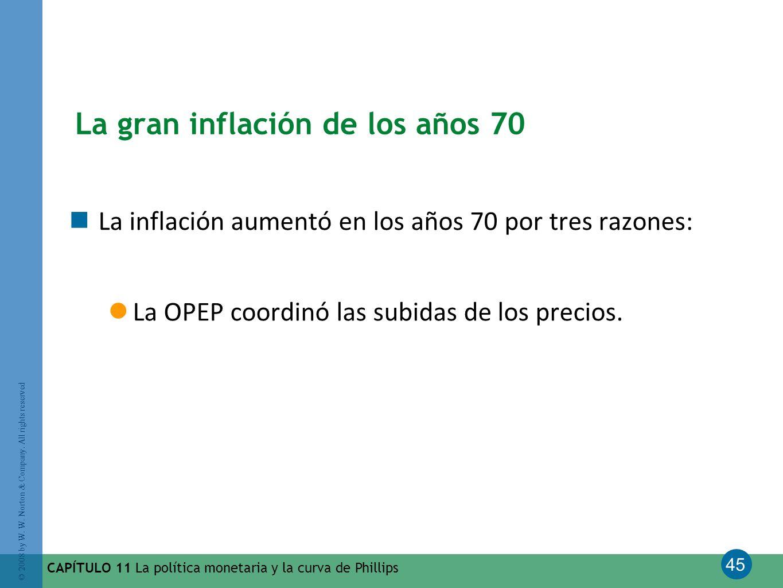 45 © 2008 by W. W. Norton & Company. All rights reserved CAPÍTULO 11 La política monetaria y la curva de Phillips La gran inflación de los años 70 La