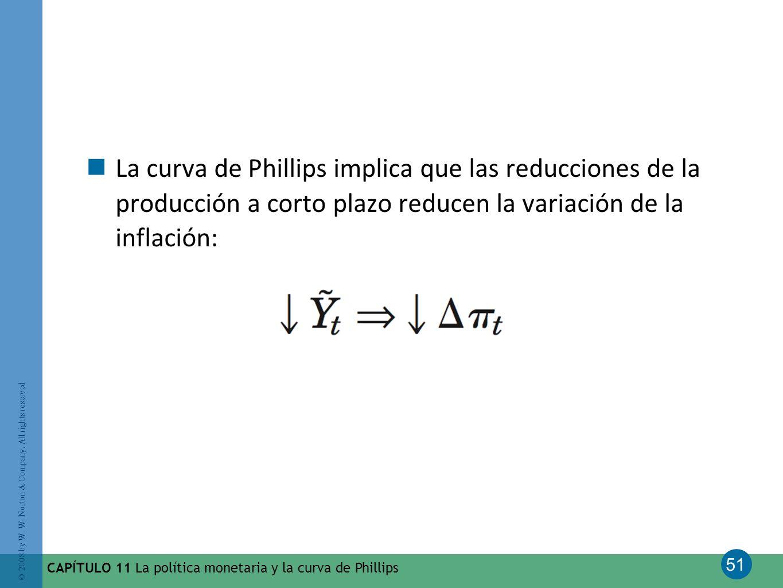 51 © 2008 by W. W. Norton & Company. All rights reserved CAPÍTULO 11 La política monetaria y la curva de Phillips La curva de Phillips implica que las