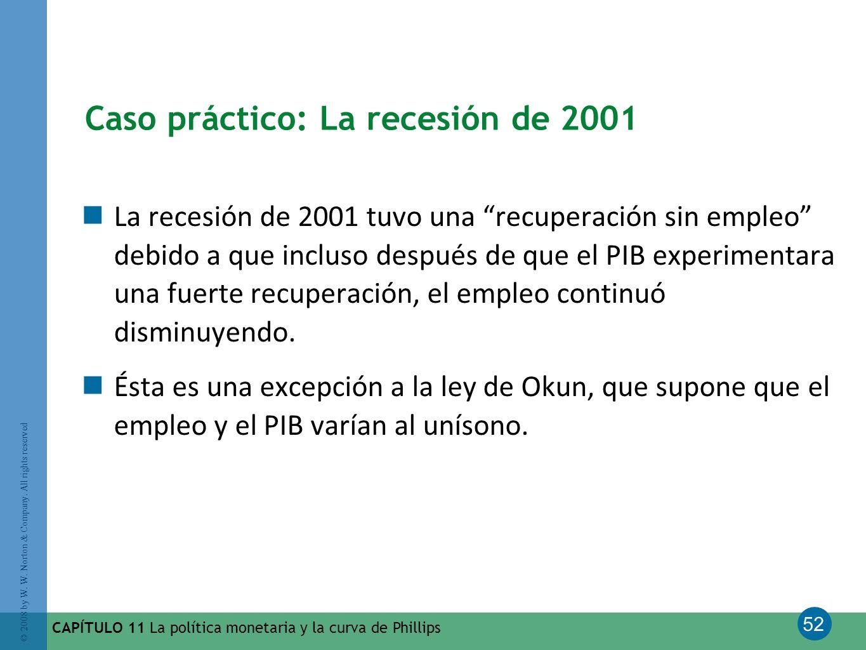 52 © 2008 by W. W. Norton & Company. All rights reserved CAPÍTULO 11 La política monetaria y la curva de Phillips Caso práctico: La recesión de 2001 L