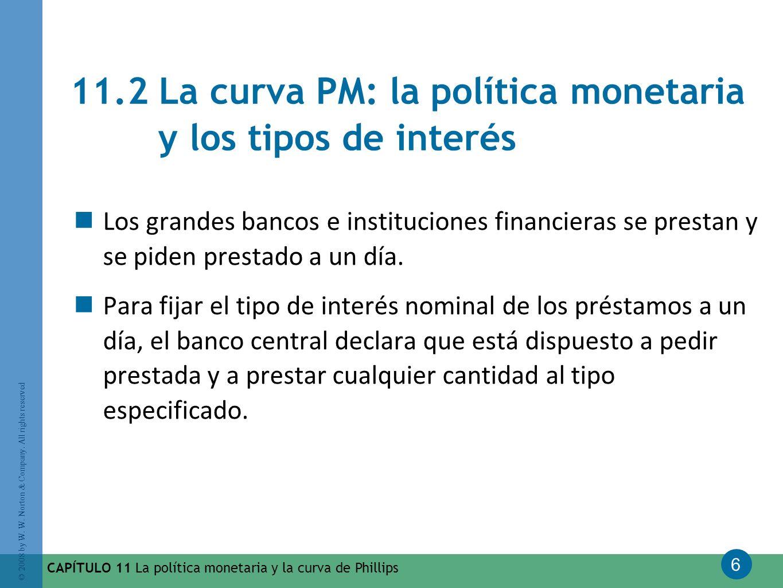 6 © 2008 by W. W. Norton & Company. All rights reserved CAPÍTULO 11 La política monetaria y la curva de Phillips 11.2 La curva PM: la política monetar