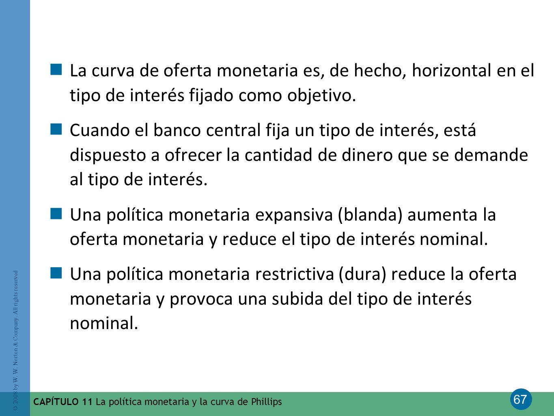 67 © 2008 by W. W. Norton & Company. All rights reserved CAPÍTULO 11 La política monetaria y la curva de Phillips La curva de oferta monetaria es, de
