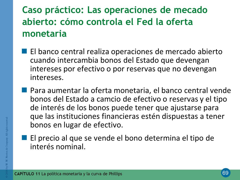 69 © 2008 by W. W. Norton & Company. All rights reserved CAPÍTULO 11 La política monetaria y la curva de Phillips Caso práctico: Las operaciones de me
