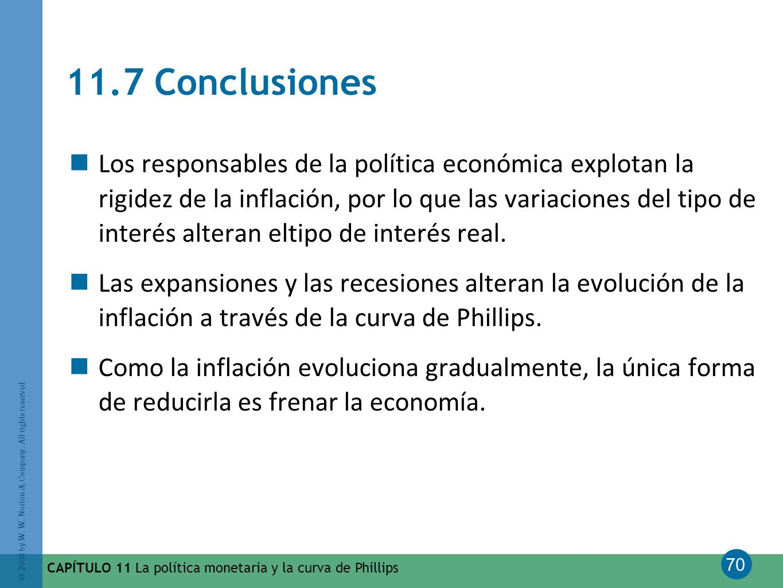 70 © 2008 by W. W. Norton & Company. All rights reserved CAPÍTULO 11 La política monetaria y la curva de Phillips 11.7 Conclusiones Los responsables d