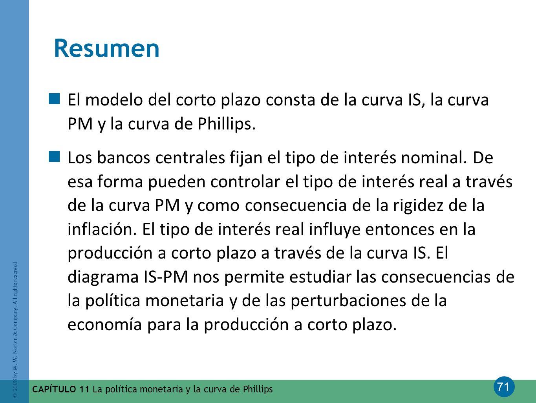 71 © 2008 by W. W. Norton & Company. All rights reserved CAPÍTULO 11 La política monetaria y la curva de Phillips Resumen El modelo del corto plazo co
