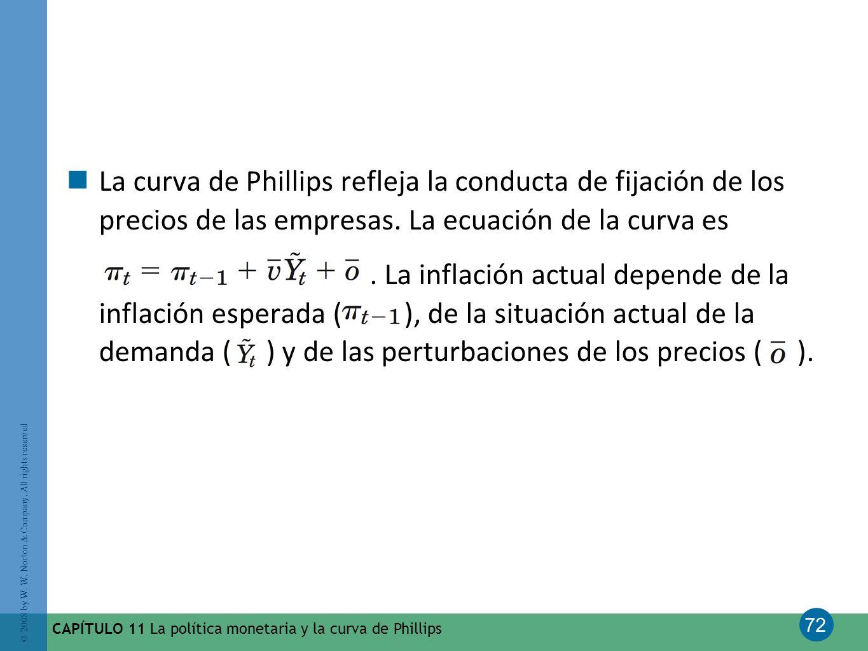 72 © 2008 by W. W. Norton & Company. All rights reserved CAPÍTULO 11 La política monetaria y la curva de Phillips La curva de Phillips refleja la cond