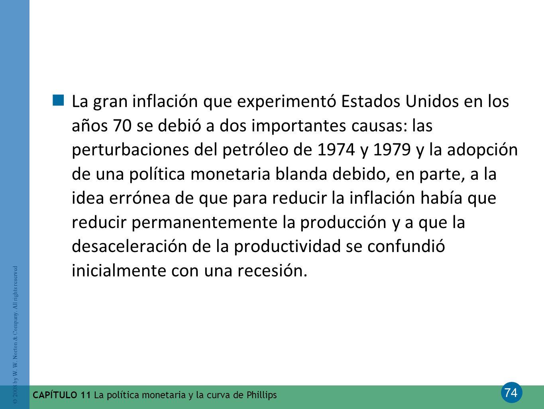74 © 2008 by W. W. Norton & Company. All rights reserved CAPÍTULO 11 La política monetaria y la curva de Phillips La gran inflación que experimentó Es