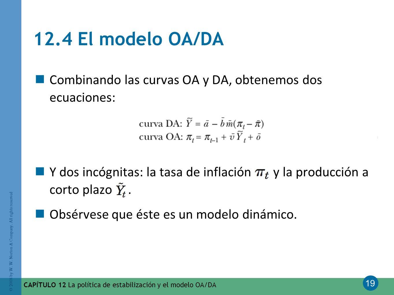 19 © 2008 by W. W. Norton & Company. All rights reserved CAPÍTULO 12 La política de estabilización y el modelo OA/DA 12.4 El modelo OA/DA Combinando l