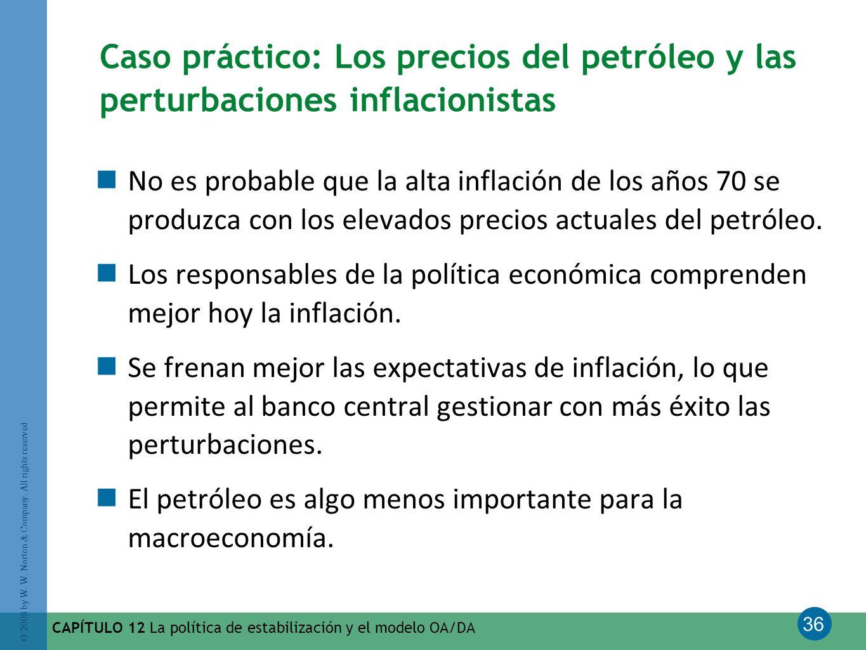 36 © 2008 by W. W. Norton & Company. All rights reserved CAPÍTULO 12 La política de estabilización y el modelo OA/DA Caso práctico: Los precios del pe